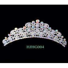 Corazones nupciales de la corona de los tiaras de la boda del rhinestone de la tiara de la perla
