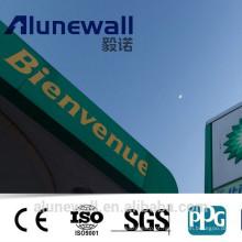 Alunewall 2mm duplo lado pvdf / feve alto brilho Painel Composto De Alumínio com preço de atacado Fabricante Chinês
