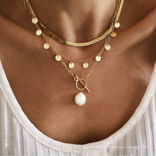 Simple snake bone chain sequin tassel necklace for women pearl pendant necklace