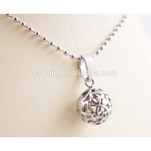 Cut gift for women Wholesale Silver Charm necklace with hollow-carved heart on ball pendant Necklaces