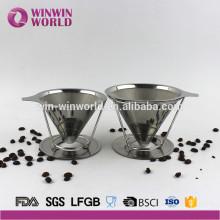 Vente chaude permanente 4 tasses sans papier Reusabl filtre à café en acier inoxydable et Brewer avec verser sur le support de café