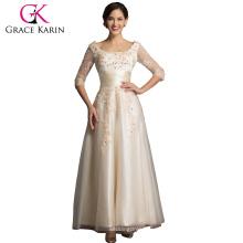 Grace Karin El más nuevo vestido elegante del baile de fin de curso del diseño Champagne con la manga larga CL6051-2 #
