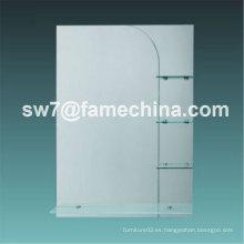 2013 simple y naturalista espejo de baño con estante de cristal
