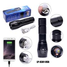 Lampe de poche tactique à DEL T6 rechargeable par USB