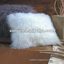 mongolian fur cushion natural white color tibet lamb fur pillow