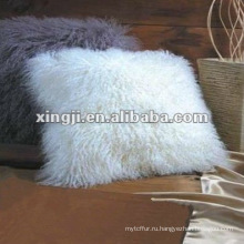 подушка монгольский мех натуральный белый цвет Тибет ягненка меховой подушки