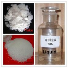 Soda cáustica (NaOH), perlas en escamas 96% -99% Líquido 49% -52% Grado industrial