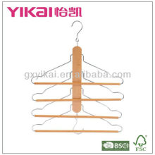 wooden shirt hanger with 4 tiers of trousers round bar