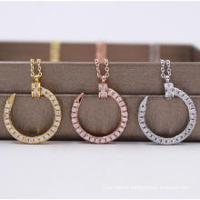 C Letter Design Pendant Necklace Gold Plated Full Diamond Iced out Moon Pendant C Logo Necklace