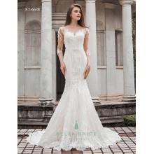 Shiny pakistani vestidos de noiva de manga longa modernos vestidos de casamento agradável peixe cortar vestido de noiva