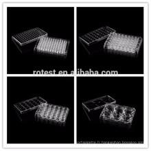 6/12/24/48/96 puits de plaques de culture cellulaire en plastique transparent