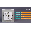 Reino Unido Estilo BS 1 Gang 13A USB Switched Socket con Neon