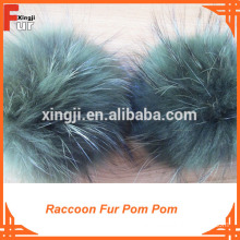 With Leather Strip for handbag, Fur Pom Poms