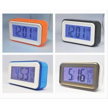 Plastic Square Shape And Larger Screen Lcd Digital Desk Calendar With Alarm Clock