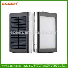 2015 Mais novo carregador solar 30000mah com LED Camp Light Dual USB Solar Power Bank
