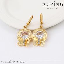 91366- Xuping Jewelry Fahion mujer chapado en oro Rrop Earrings con forma de mariposa