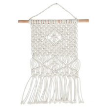 grey and white macrame wall hanging