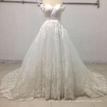 fora do ombro apliques bola vestidos de casamento nupcial