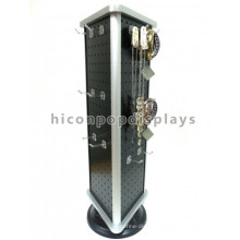 Retail Store Equipment Metal Pegboard 3-Way Countertop Rotating Fashion Jewelry Display Stands