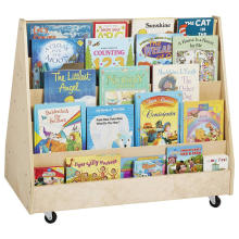 Kids Double Book Display Bookshelf With Wheels