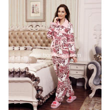 Luxury Ladies' Printed Fleece Pajama Suit