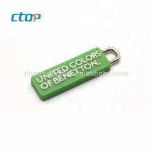 Factory wholesale bag accessory used plastic soft rubber zipper insertion pin reversible zipper slider custom zipper puller