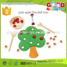 Nuevos juguetes de la habilidad de la multa de la manzana de la selección del diseño juguetes de la habilidad práctica de los niños de la alta calidad del OEM que juegan juguetes de madera MDD