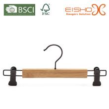 Venta al por mayor percha de pantalones de bambú con clips (MB02)