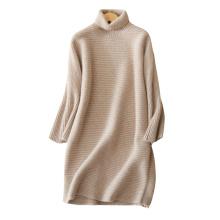 Robe chaude épaisse des femmes 100% en cachemire à tricoter col roulé hiver mini robes sexy