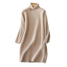 Women's thick warm dress 100% cashmere knitting turtleneck winter sexy mini dresses