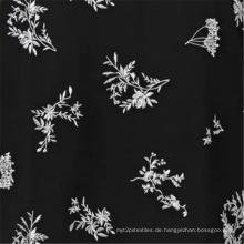 Afraic Black Viscose Rayon Kleid mit Blumenmuster