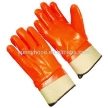 orange flourescent waterproof foam lined PVC gloves