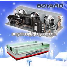 congelador de refrigerador comercial de lado a lado con la unidad de condensación del compresor de refrigeración de hvac R404a