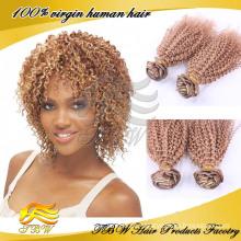 Atacado virgem brasileira tecer cabelo encaracolado cor # 33 top quality