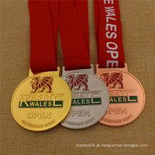 Medalha de karatê de Bronze de prata de Metal personalizado com fita impressa