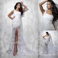 Vestido de noiva com renda dianteira de um ombro dianteiro