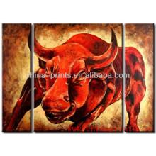 Pintura al óleo moderna de la vaca del diseño caliente en la lona decorativa para el hotel