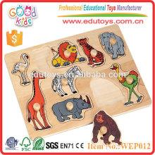 Wooden Wild Animal Peg Puzzle, 10 Stück Abnehmbares Tier Peg Puzzle
