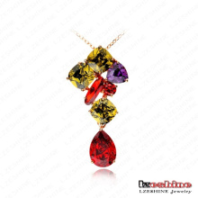 Multicolor Cubic Zirconia Sweater Pendant Necklaces (CNL0012-C)