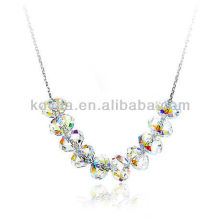 2014 new product 925 silver chain transparent crystal pendant necklace