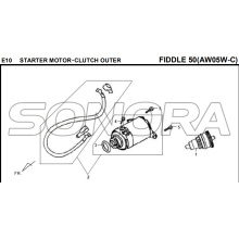 E10 STARTER MOTOR‧CLUTCH EXTERIOR FIDDLE 50 AW05W-C Para SYM Spare Part Top Quality