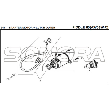 E10 STARTER MOTOR‧CLUTCH ESTERNO FIDDLE 50 AW05W-C Per SYM Spare Part Top Quality