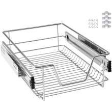 Cromo concluir cozinha slide para fora fio cesta de armazenamento