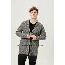 Half Fishmen Rib Men Sweater Cardigan with Button