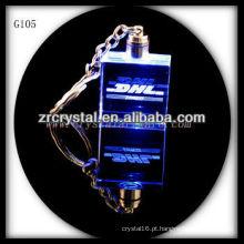 Chaveiro de cristal LED com imagem 3D gravado a laser dentro e em branco chaveiro de cristal G105