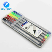 Wholesale Customizable Multi Color 6PCS Plastic Fine Liner Permanent Marker