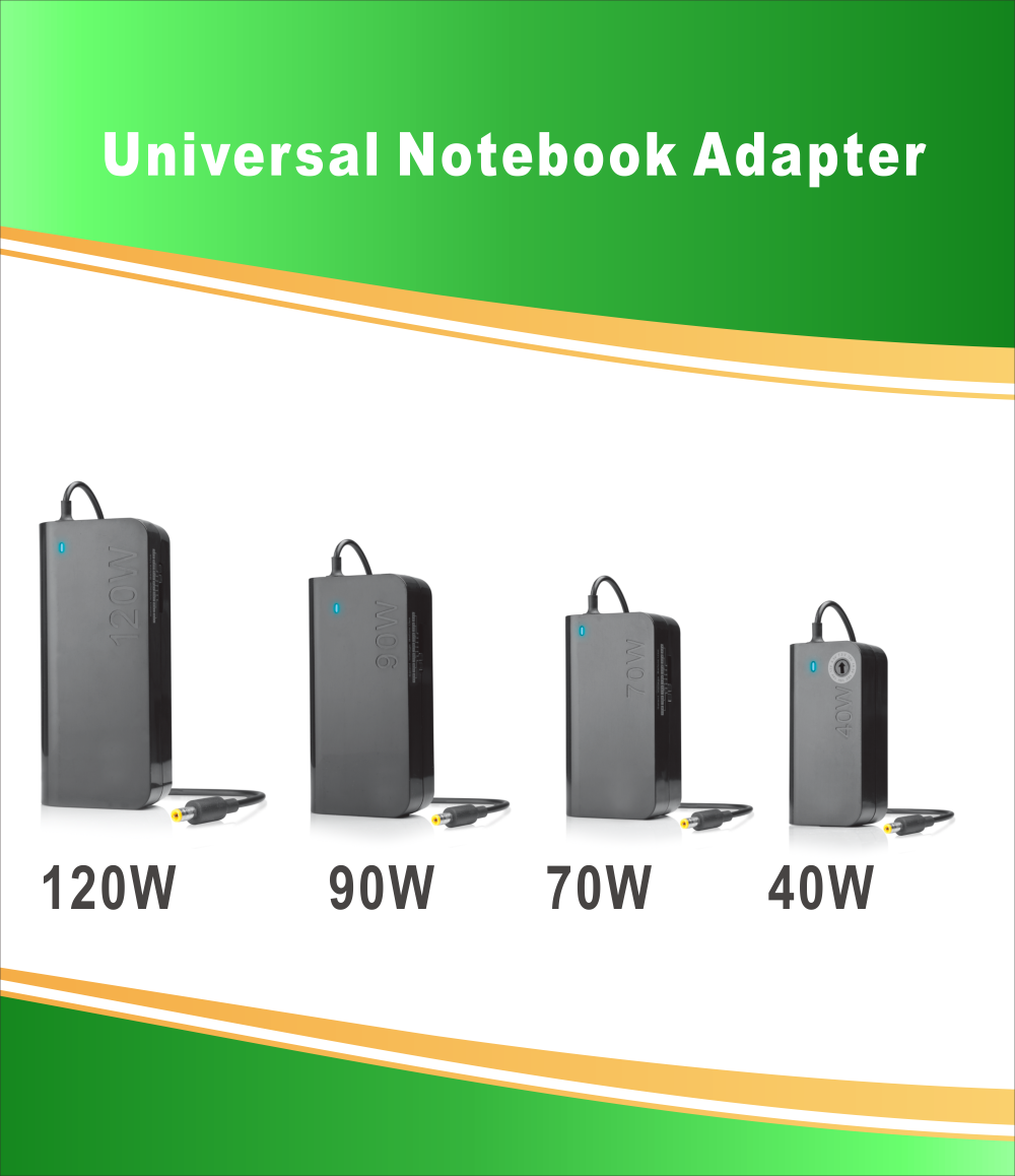 120W Universal Laptop Adapter with 8 Plugs