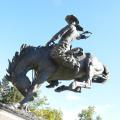 fonderie de bronze grande statue de cheval de cowboy de cuivre en plein air