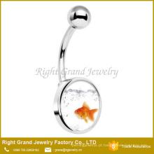 Jóia de aço cirúrgica do corpo do anel da barriga da cola Epoxy do logotipo do peixinho do aço 316L