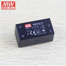 tipo encapsulado en miniatura MEANWELL 20W 15Vdc open frame Fuente de alimentación IRM-20-15